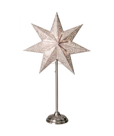 Antique papirstjerne på fot, høyde 55 cm, Hvit