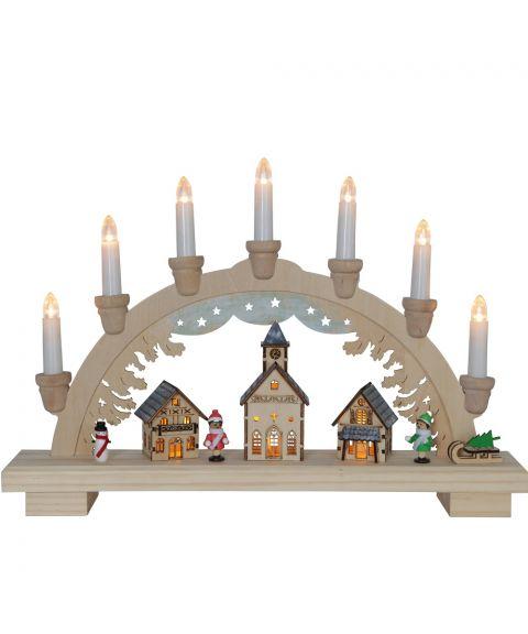 Dassel stake med 7 lys, bredde 43 cm, lazercut