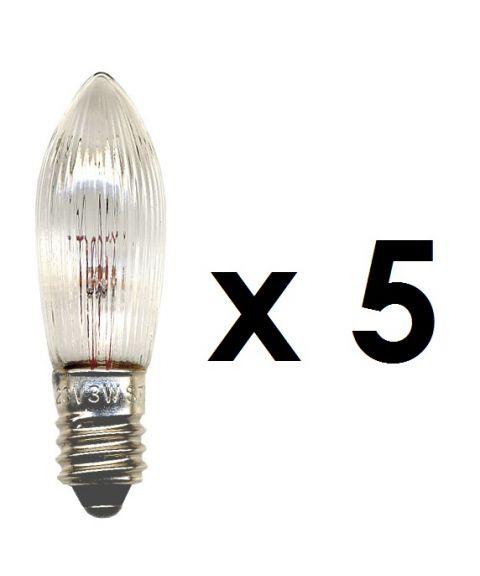 Reservepære glødelampe 55V 3W E10, 5-pk