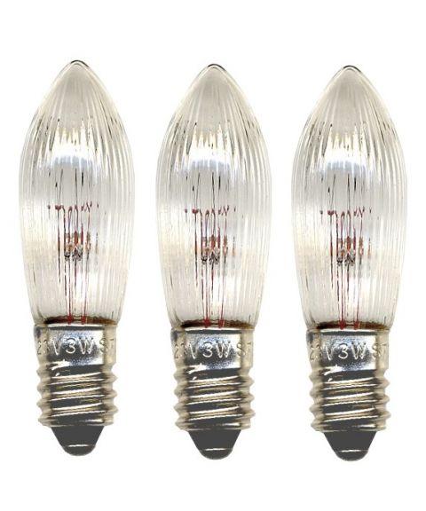 Reservepære glødelampe 23V 3W E10 3-pk