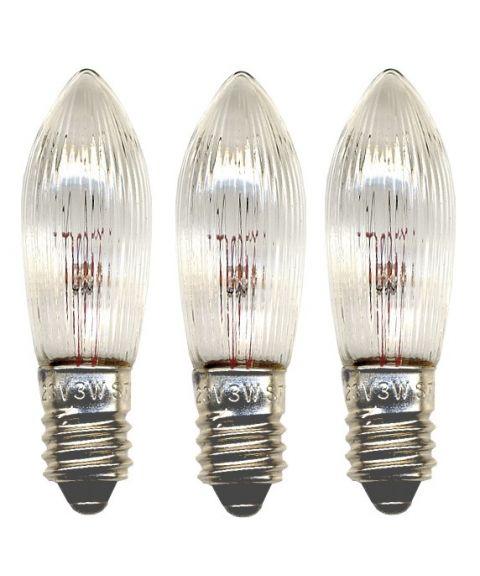 Reservepære glødelampe 55V 3W E10, 3-pk