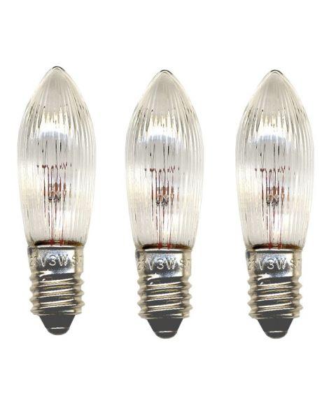 Reservepære glødelampe 34V 3W E10, 3-pk