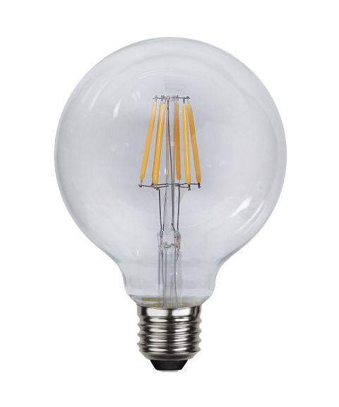 Globe E27 95mm Klar 2700K 4,7W LED 470lm, Dimbar