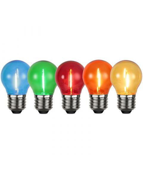 Decoration E27 LED, 5 farger i 5-pk