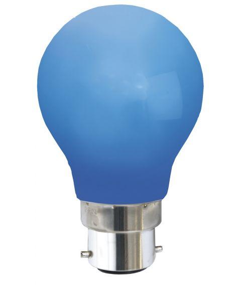 Farget B22 dekorpære 1W LED 6lm, Blå