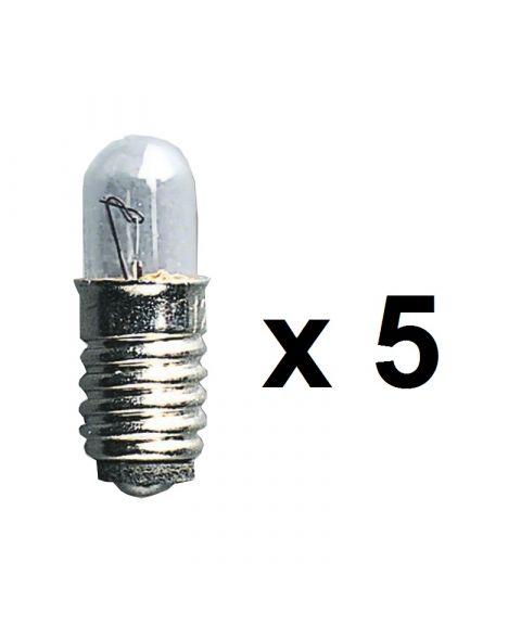 Reservepære glødelampe 12V med E5-sokkel, 0,6W, 5-pk