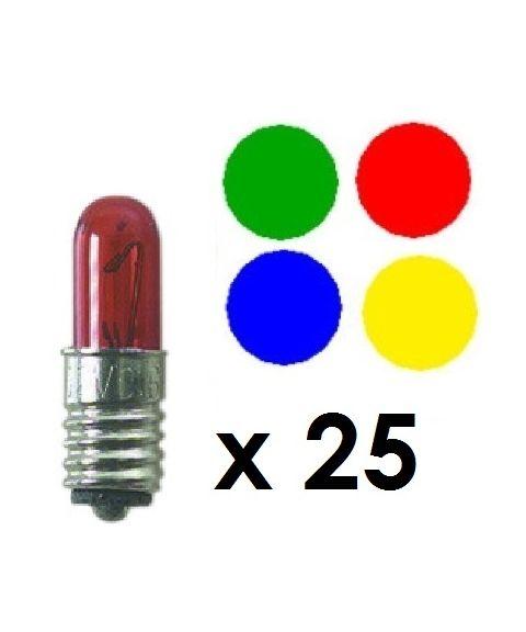 Reservepære glødelampe 12V E5 0,6W Flere farger, 25-pk