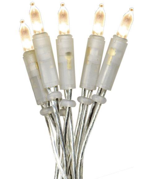 Slynge P-LED (x35), Varmhvitt lys, Transparent kabel