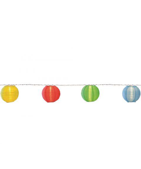 Festival slynge risballer, LED (x10), lengde 450 cm, utendørs, Flerfarget