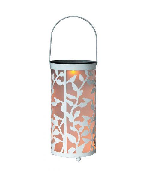 LED-lanterne, Metall, Hvit, høyde 26 cm, Solcelle, LED (restlager)