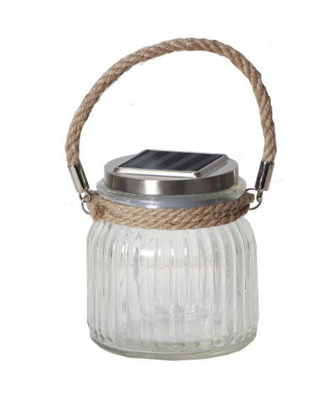 Jamjar Glasslykt med tauhåndtak, Solcelle, LED