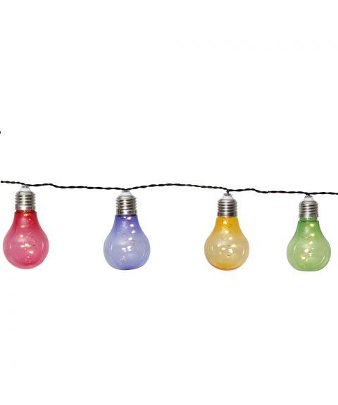 Glow lysslynge, Solcelle, lengde 190 cm, LED (x10), Fargede pærer