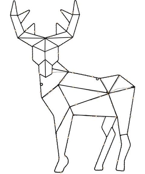 Cupid duggdråper Reinsdyr for veggmontering, høyde 70 cm, LED (x70), Sort, Kaldhvitt lys