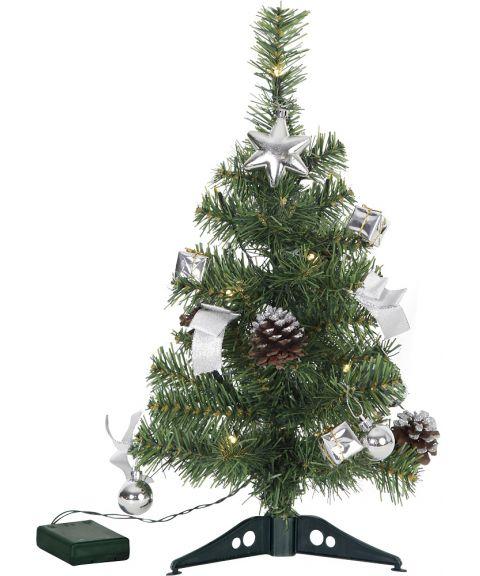 Decorage juletre 45 cm sølv pynt, for batteri