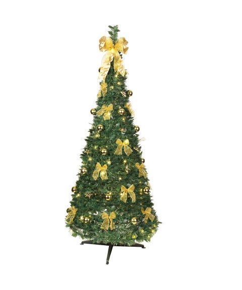 Juletre 180 cm, Dra-opp, med LED (x144), med pynt, Grønn/gull
