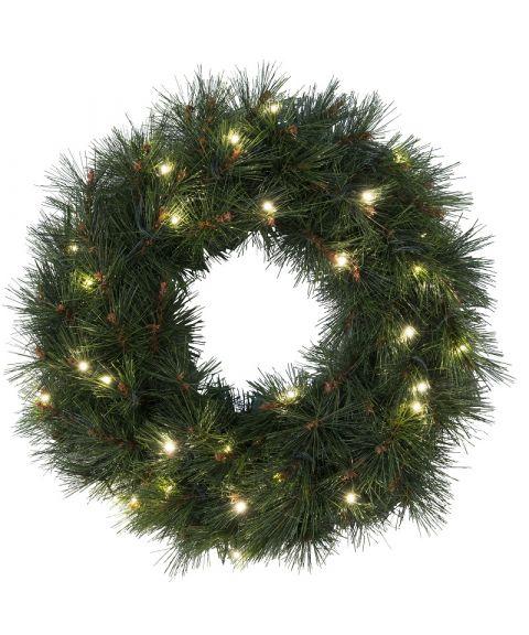 Krans diameter 50 cm, Russian Pine, LED (x30), Grønn