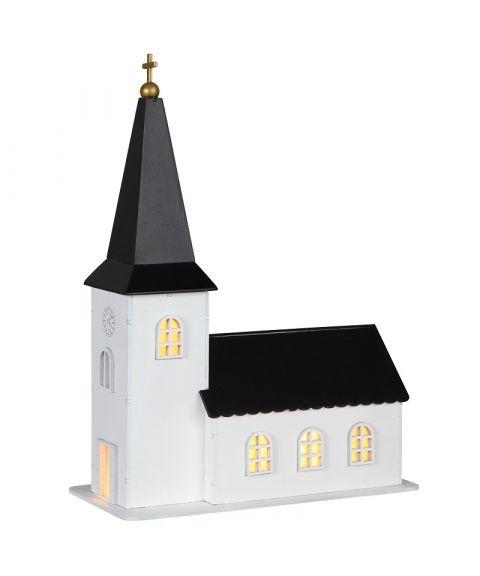 Churchill kirke med spilledåse, for batteri, med timer, Hvit med sort tak