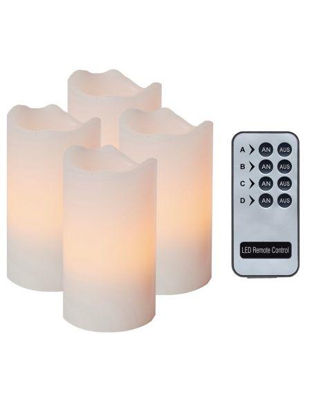 Advent LED kubbelys, høyde 10 cm, med fjernkontroll, pakke med 4, Hvit voks