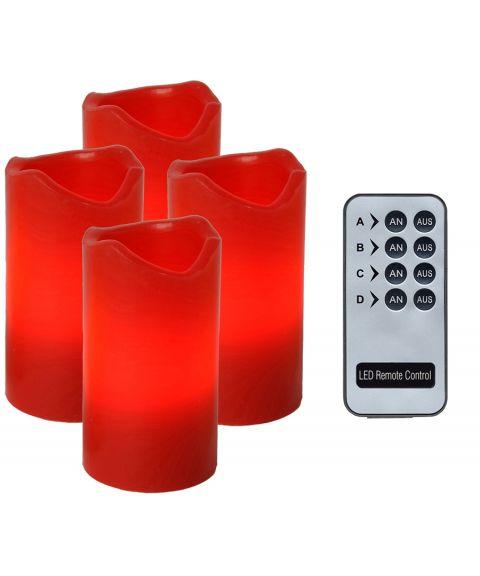 Advent LED kubbelys, høyde 10 cm, med fjernkontroll, pakke med 4, Rød voks