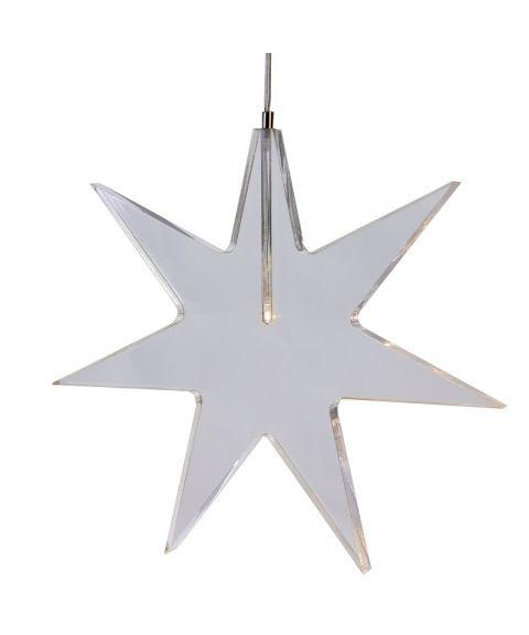 Stjerne Karla i klar akryl, 25 cm
