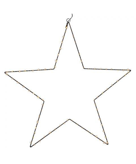 Metallstjerne Mira m/duggdråper LED 70 cm, Sort