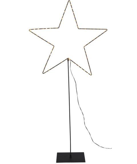 Metallstjerne Mira på fot med duggdråper LED 100 cm, Sort