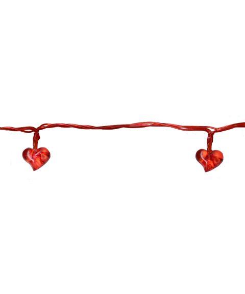 Batteri Festlenke, Hjerte, 135 cm, 10 x Røde hjerter