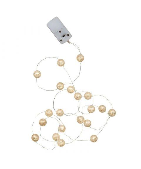 Marble Balls lyskjede 140 cm, LED (x15), Hvit, for batteri, med timer
