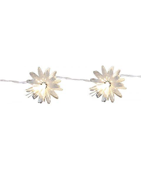 Fibre Flower lyslenke 135 cm, LED (x10), for batteri, med timer, Hvit