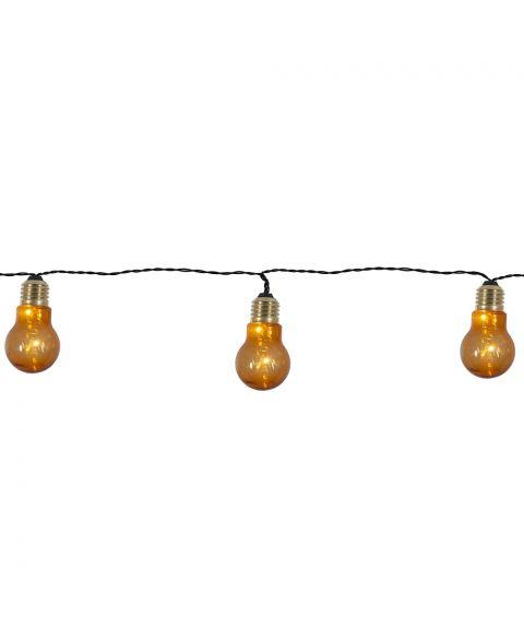 Party light Glow 5-lys, Sort kabel, for batteri, med timer