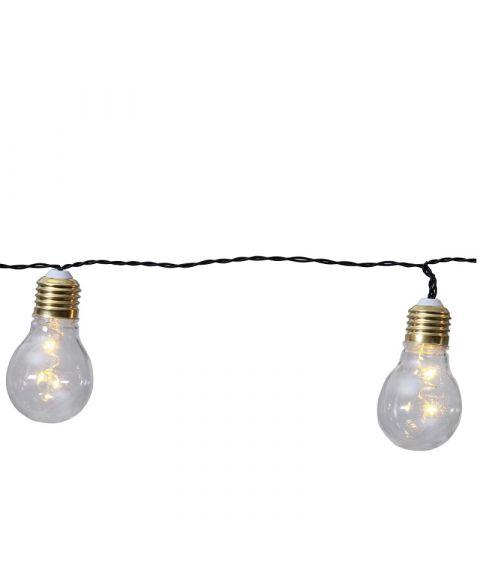 Glow slynge, lengde 100 cm. LED (x5), for batteri, med timer, Klare pærer