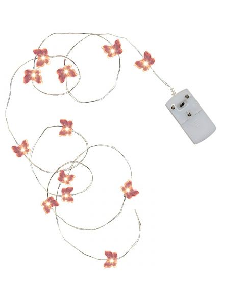 Slynge String LED (x12), for batteri, 110 cm, med rosa sommerfugler