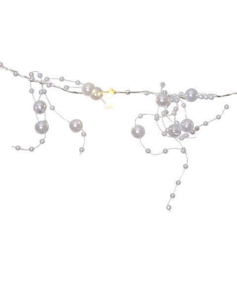 Slynge med duggdråper, LED (x20), for batteri, med timer, Hvite perler