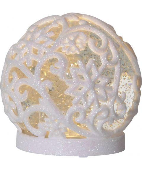 Frost Kule med glitter, for batteri, med timer, Hvit, diameter 12 cm