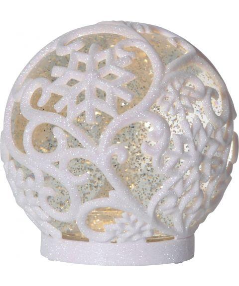Frost Kule med glitter, for batteri, med timer, Hvit, diameter 15 cm