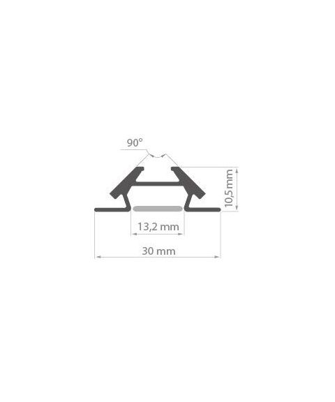 Aluminiumsprofil PAC (u/avdekning), for hjørnemontering, 2 meter