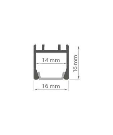 Aluminiumsprofil PDS ZM (u/avdekning), anodisert, Aluminium, 2 meter