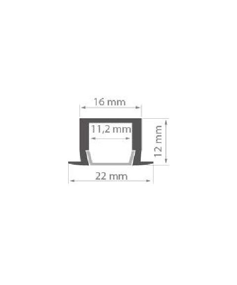 Aluminiumsprofil PDS4-K (u/avdekning), anodisert, 2 meter, Aluminium