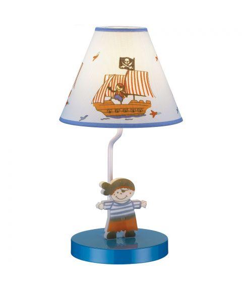 Pirat bordlampe med lampeskjerm, høyde 26 cm