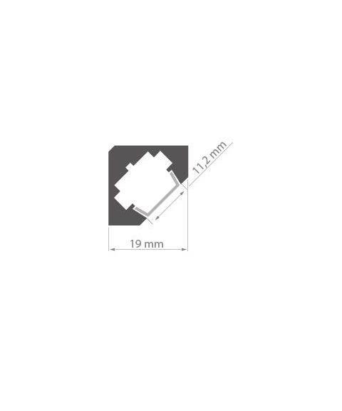 Aluminiumsprofil 45° for hjørnemontering (u/avdekning), anodisert, 2 meter, Hvit (RAL9010)