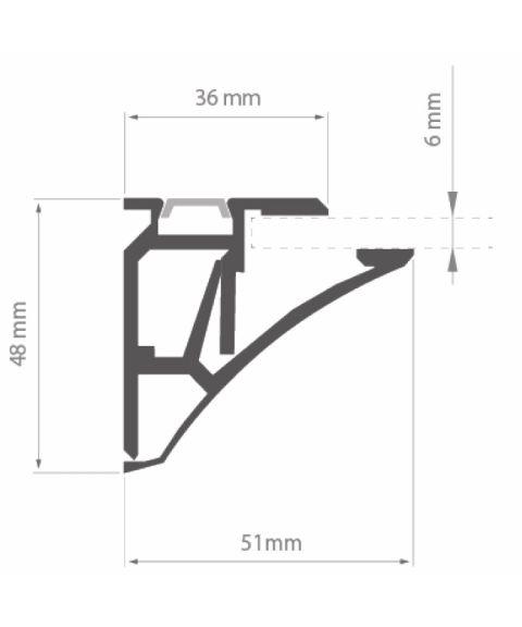 Aluminiumsprofil Pula (u/avdekning), anodisert, 2 meter, Aluminium