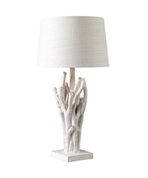 Trysil bordlampe, høyde 67 cm, med lampeskjerm, Hvitlasert